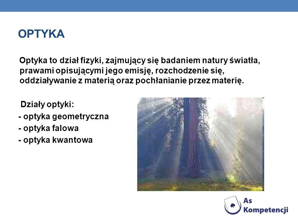 OPTYKA Optyka to dział fizyki, zajmujący się badaniem natury światła, prawami opisującymi jego emisję, rozchodzenie się, oddziaływanie z materią oraz