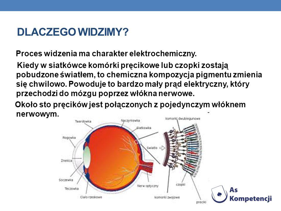DLACZEGO WIDZIMY? Proces widzenia ma charakter elektrochemiczny. Kiedy w siatkówce komórki pręcikowe lub czopki zostają pobudzone światłem, to chemicz