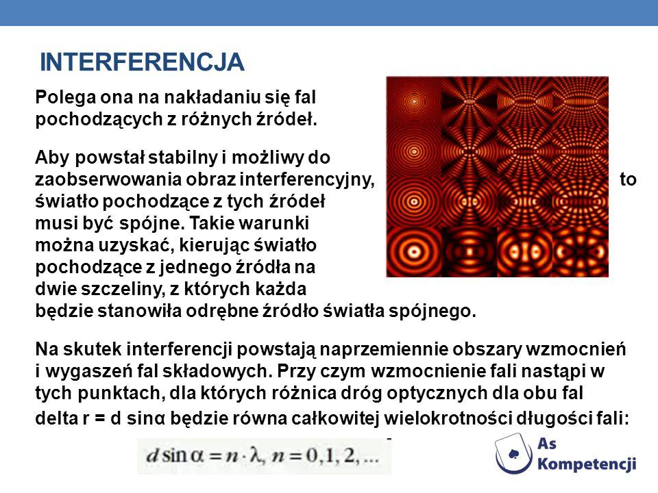 INTERFERENCJA Polega ona na nakładaniu się fal pochodzących z różnych źródeł. Aby powstał stabilny i możliwy do zaobserwowania obraz interferencyjny,
