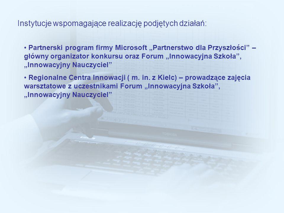 Instytucje wspomagające realizację podjętych działań: Partnerski program firmy Microsoft Partnerstwo dla Przyszłości – główny organizator konkursu ora
