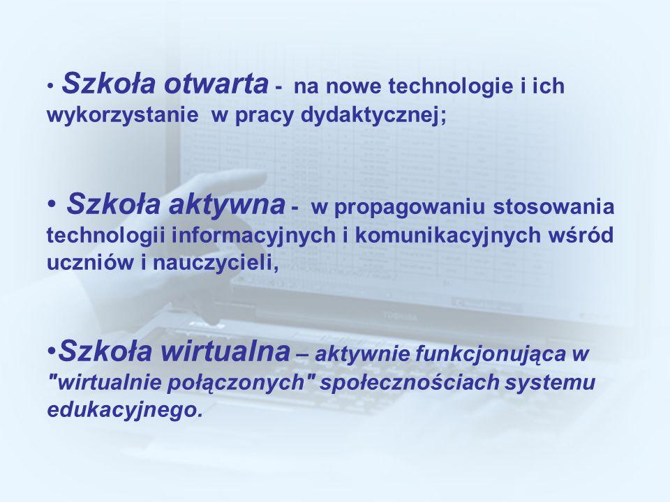 Szkoła otwarta - na nowe technologie i ich wykorzystanie w pracy dydaktycznej; Szkoła aktywna - w propagowaniu stosowania technologii informacyjnych i