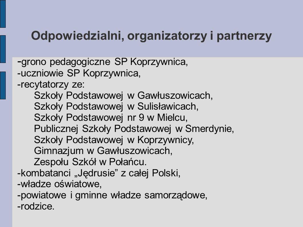 Odpowiedzialni, organizatorzy i partnerzy - grono pedagogiczne SP Koprzywnica, -uczniowie SP Koprzywnica, -recytatorzy ze: Szkoły Podstawowej w Gawłus