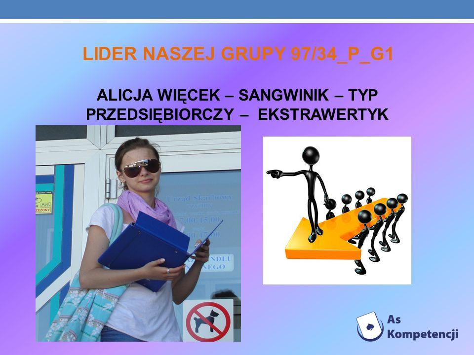 LIDER NASZEJ GRUPY 97/34_P_G1 ALICJA WIĘCEK – SANGWINIK – TYP PRZEDSIĘBIORCZY – EKSTRAWERTYK
