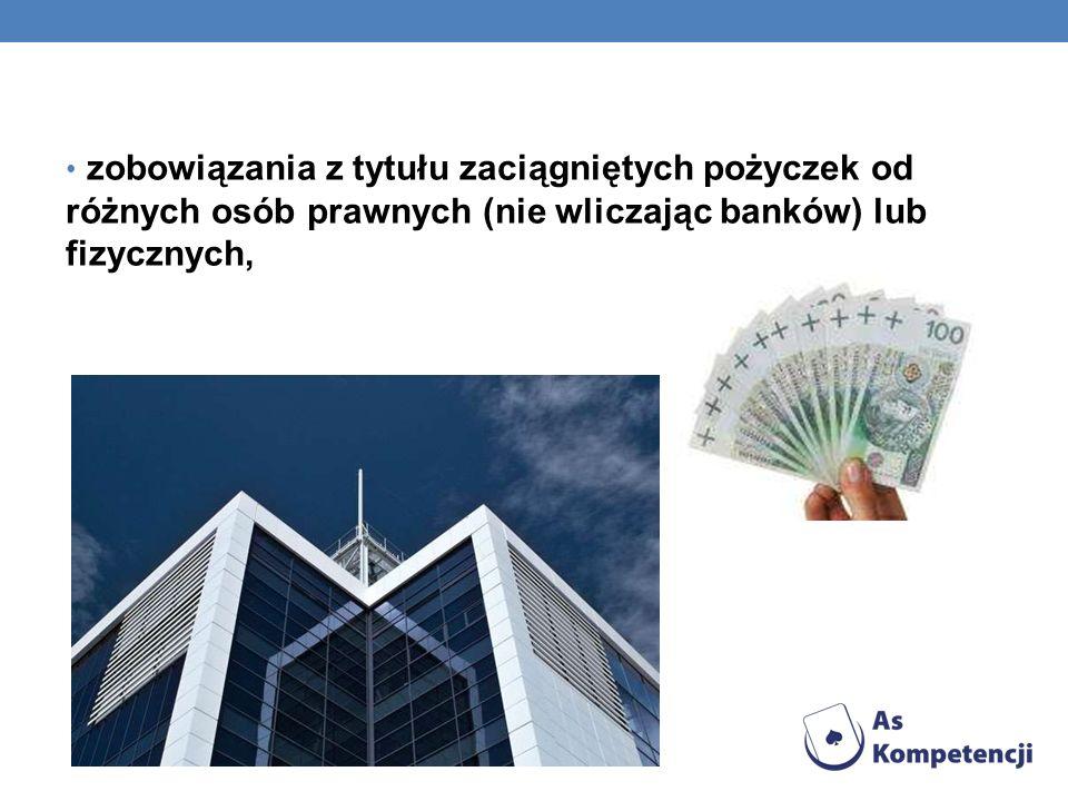 zobowiązania z tytułu zaciągniętych pożyczek od różnych osób prawnych (nie wliczając banków) lub fizycznych,