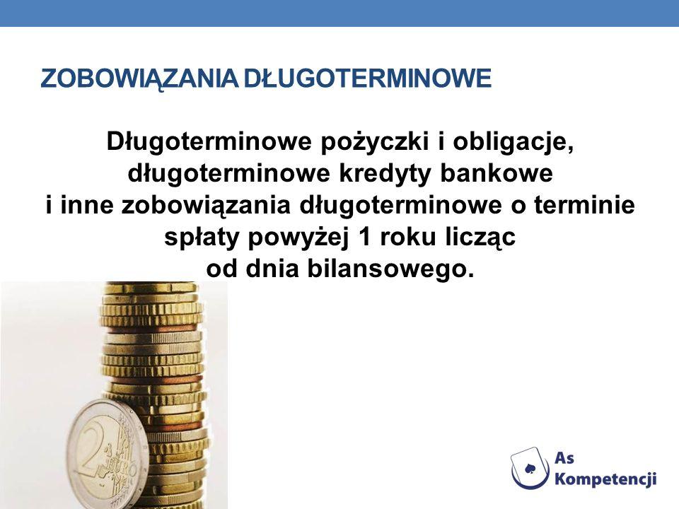 ZOBOWIĄZANIA DŁUGOTERMINOWE Długoterminowe pożyczki i obligacje, długoterminowe kredyty bankowe i inne zobowiązania długoterminowe o terminie spłaty p