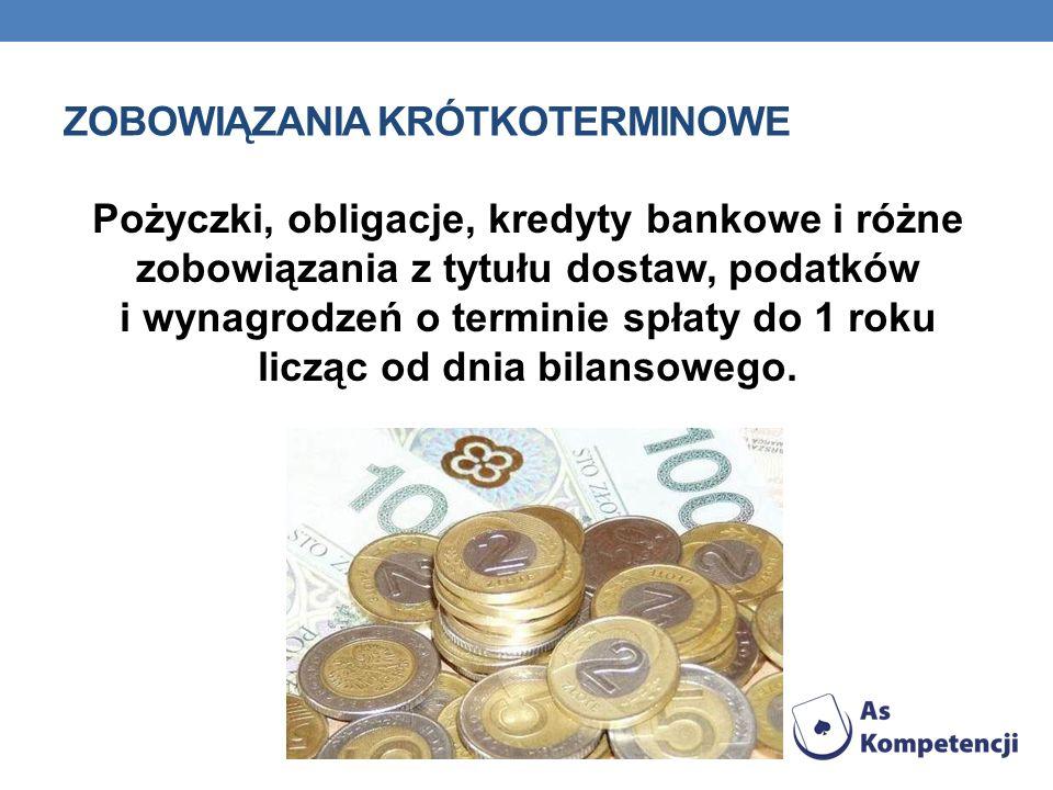 ZOBOWIĄZANIA KRÓTKOTERMINOWE Pożyczki, obligacje, kredyty bankowe i różne zobowiązania z tytułu dostaw, podatków i wynagrodzeń o terminie spłaty do 1
