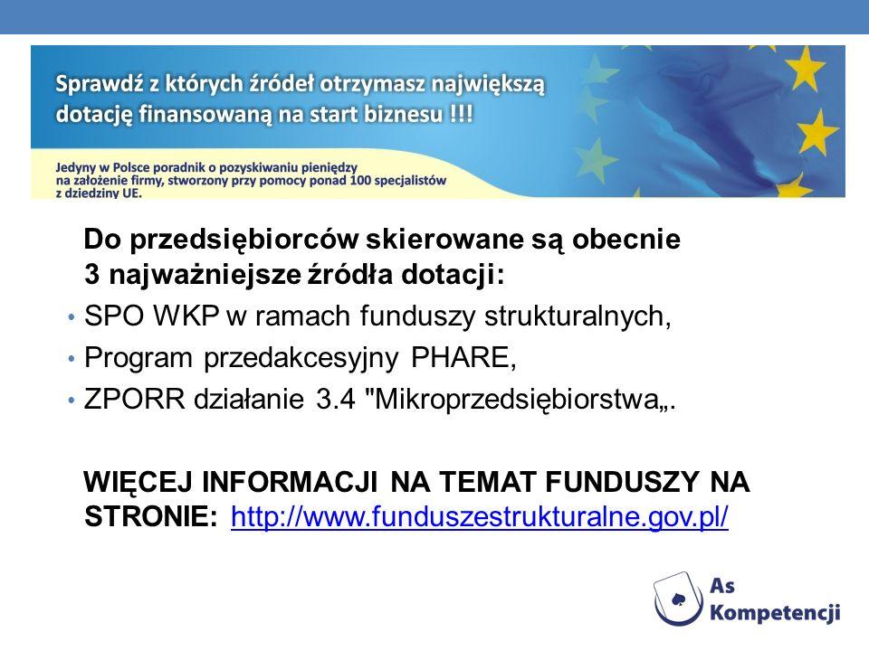 Do przedsiębiorców skierowane są obecnie 3 najważniejsze źródła dotacji: SPO WKP w ramach funduszy strukturalnych, Program przedakcesyjny PHARE, ZPORR