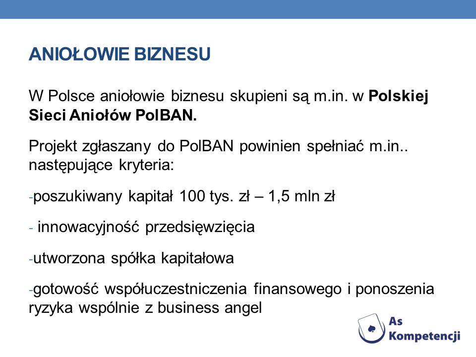 ANIOŁOWIE BIZNESU W Polsce aniołowie biznesu skupieni są m.in. w Polskiej Sieci Aniołów PolBAN. Projekt zgłaszany do PolBAN powinien spełniać m.in.. n