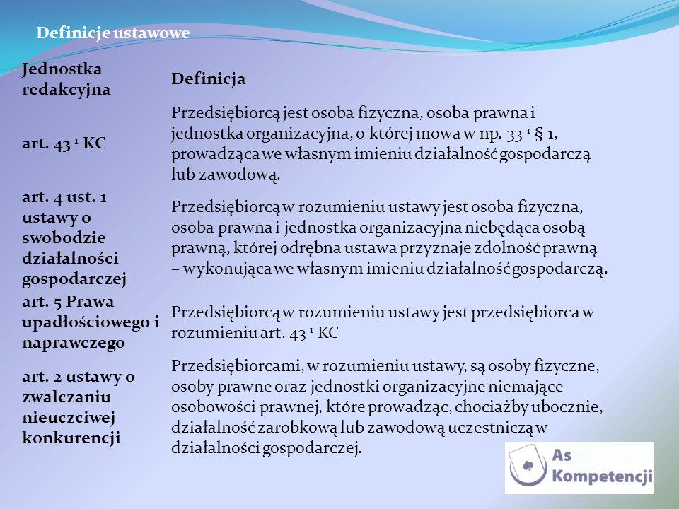 Definicje ustawowe Jednostka redakcyjna Definicja art. 43 1 KC Przedsiębiorcą jest osoba fizyczna, osoba prawna i jednostka organizacyjna, o której mo