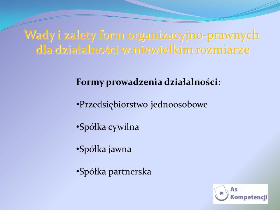 Wady i zalety form organizacyjno-prawnych dla działalności w niewielkim rozmiarze dla działalności w niewielkim rozmiarze Formy prowadzenia działalnoś