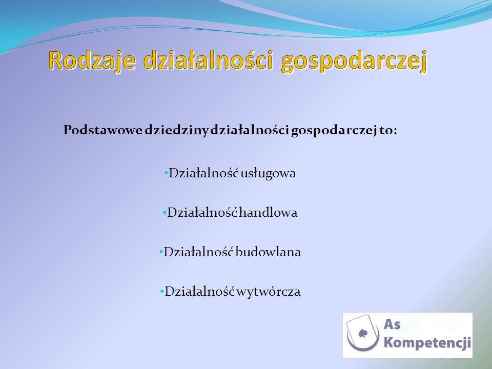 Podstawowe dziedziny działalności gospodarczej to: Działalność usługowa Działalność handlowa Działalność budowlana Działalność wytwórcza