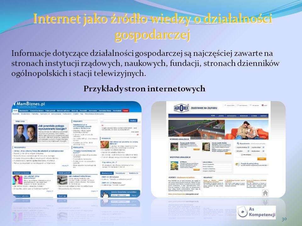 30 Internet jako źródło wiedzy o działalności gospodarczej Informacje dotyczące działalności gospodarczej są najczęściej zawarte na stronach instytucj