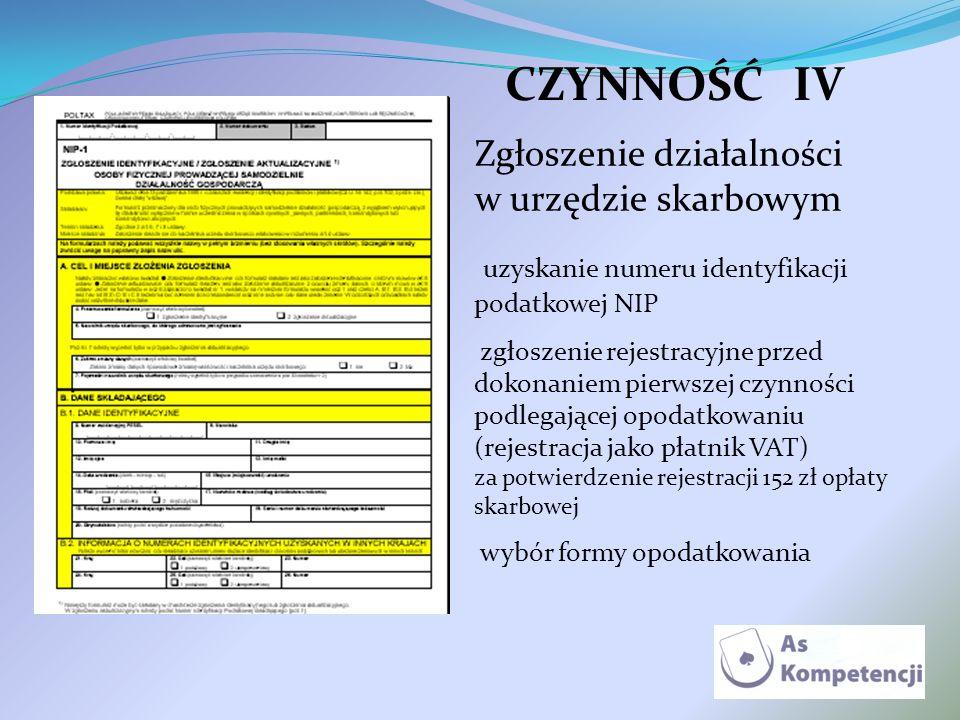 CZYNNOŚĆIV Zgłoszenie działalności w urzędzie skarbowym uzyskanie numeru identyfikacji podatkowej NIP zgłoszenie rejestracyjne przed dokonaniem pierws