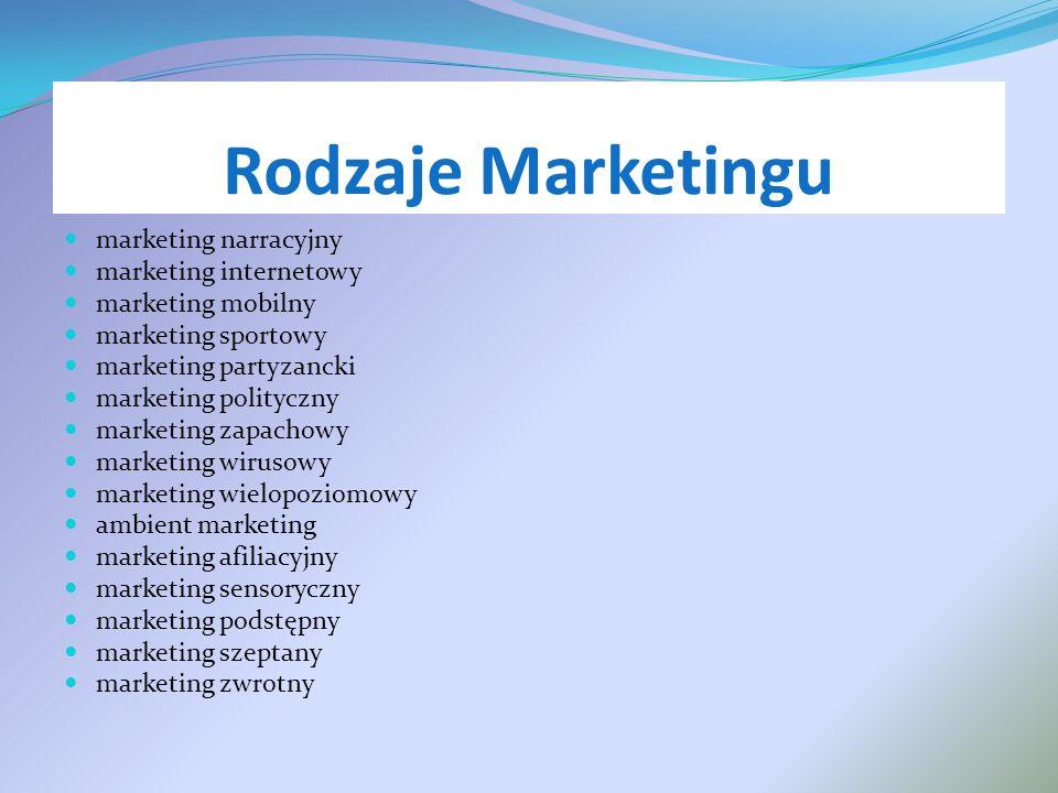 Rodzaje Marketingu marketing narracyjny marketing internetowy marketing mobilny marketing sportowy marketing partyzancki marketing polityczny marketin