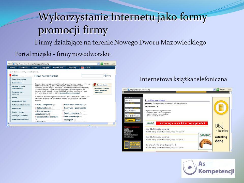 Wykorzystanie Internetu jako formy promocji firmy Firmy działające na terenie Nowego Dworu Mazowieckiego Portal miejski - firmy nowodworskie Interneto