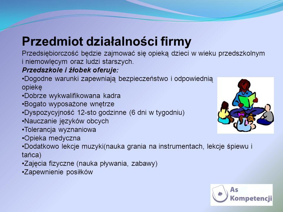 Przedmiot działalności firmy Przedsiębiorczość będzie zajmować się opieką dzieci w wieku przedszkolnym i niemowlęcym oraz ludzi starszych. Przedszkole