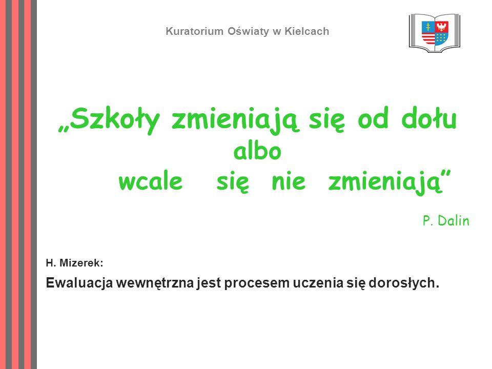 Szkoły zmieniają się od dołu albo wcale się nie zmieniają P. Dalin H. Mizerek: Ewaluacja wewnętrzna jest procesem uczenia się dorosłych. Kuratorium Oś