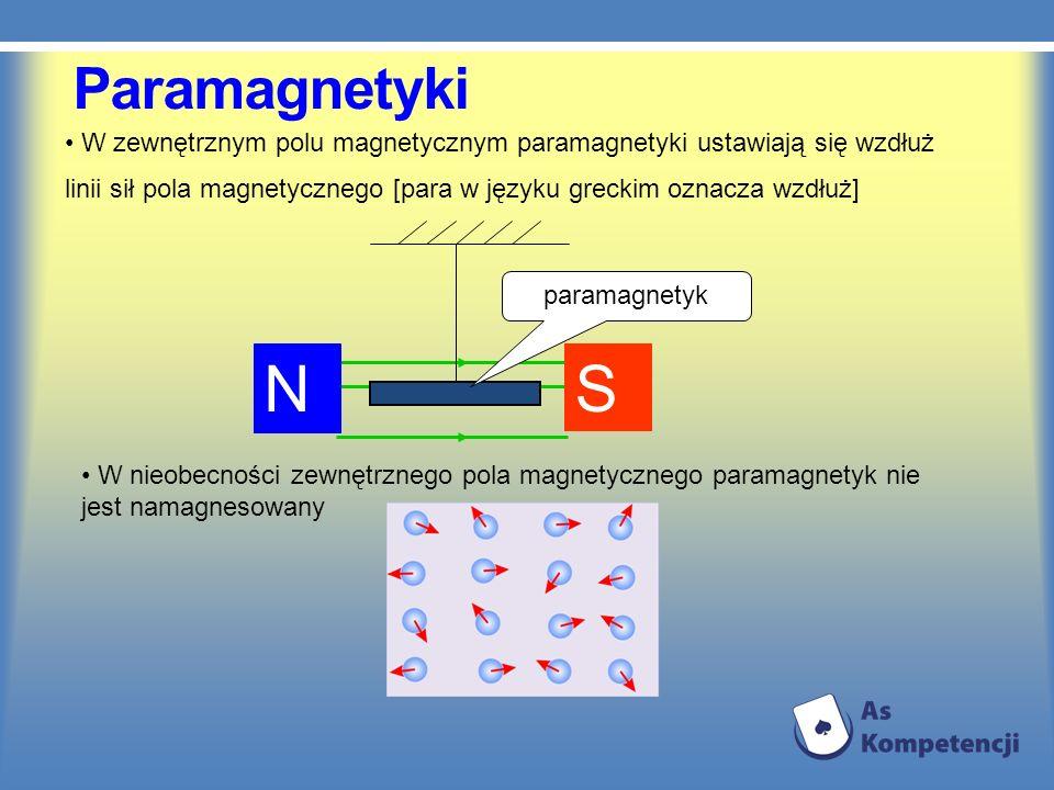 Paramagnetyki W zewnętrznym polu magnetycznym paramagnetyki ustawiają się wzdłuż linii sił pola magnetycznego [para w języku greckim oznacza wzdłuż] N