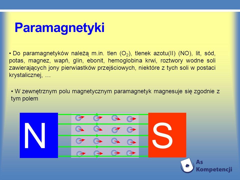 Paramagnetyki Do paramagnetyków należą m.in. tlen (O 2 ), tlenek azotu(II) (NO), lit, sód, potas, magnez, wapń, glin, ebonit, hemoglobina krwi, roztwo