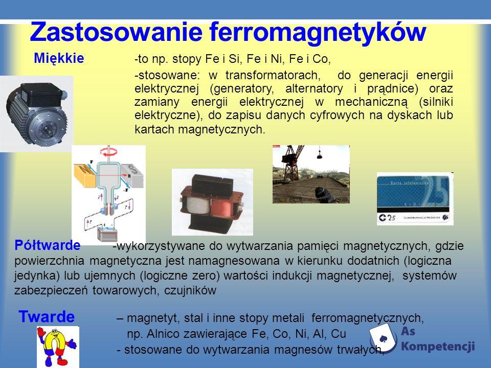 Zastosowanie ferromagnetyków Miękkie - to np. stopy Fe i Si, Fe i Ni, Fe i Co, -stosowane: w transformatorach, do generacji energii elektrycznej (gene