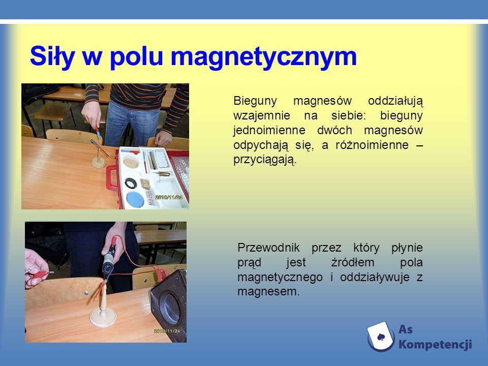 Siły w polu magnetycznym Bieguny magnesów oddziałują wzajemnie na siebie: bieguny jednoimienne dwóch magnesów odpychają się, a różnoimienne – przyciąg