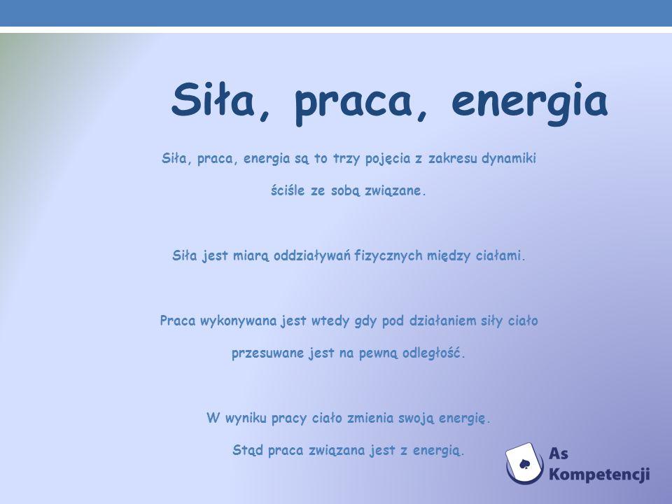 Siła, praca, energia Siła, praca, energia są to trzy pojęcia z zakresu dynamiki ściśle ze sobą związane. Siła jest miarą oddziaływań fizycznych między