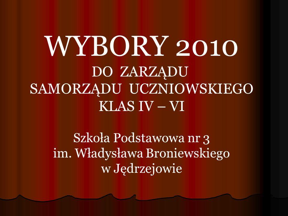 WYBORY 2010 DO ZARZĄDU SAMORZĄDU UCZNIOWSKIEGO KLAS IV – VI Szkoła Podstawowa nr 3 im.