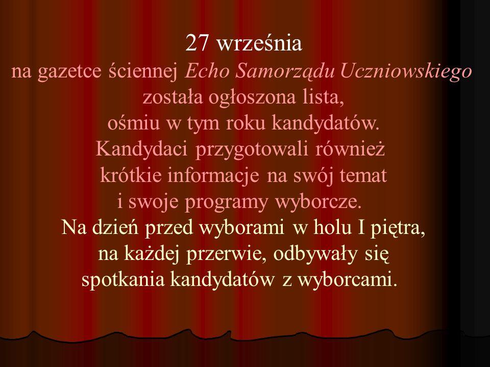 27 września na gazetce ściennej Echo Samorządu Uczniowskiego została ogłoszona lista, ośmiu w tym roku kandydatów.