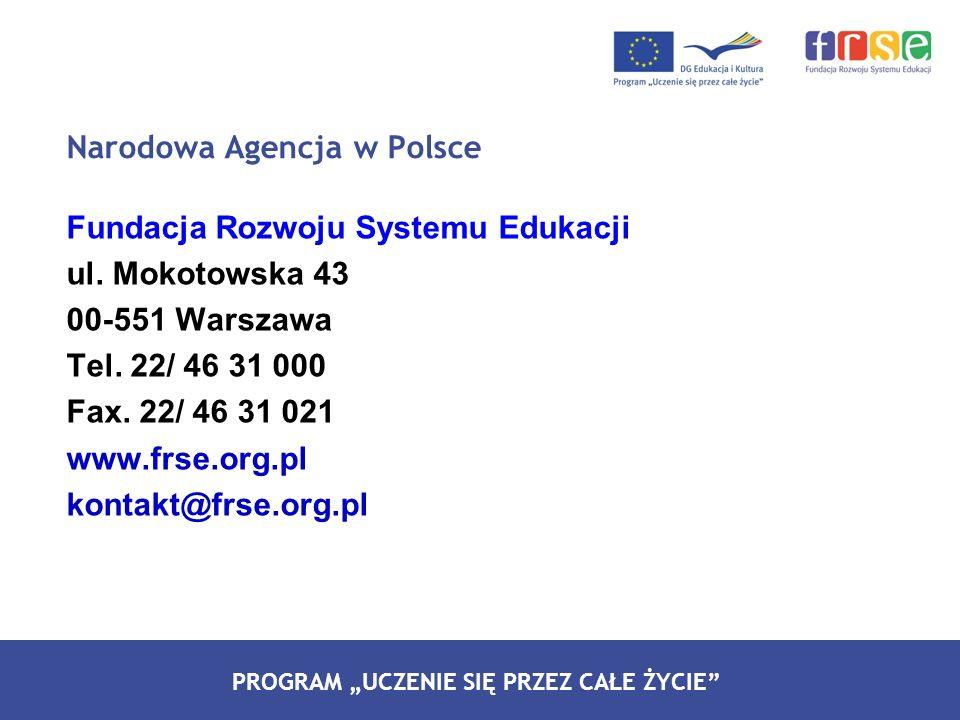 PROGRAM LEONARDO DA VINCI PROGRAM UCZENIE SIĘ PRZEZ CAŁE ŻYCIE Fundacja Rozwoju Systemu Edukacji ul. Mokotowska 43 00-551 Warszawa Tel. 22/ 46 31 000