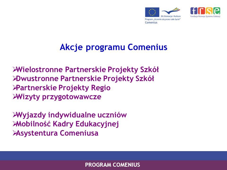 PROGRAM LEONARDO DA VINCI PROGRAM UCZENIE SIĘ PRZEZ CAŁE ŻYCIE PROGRAM COMENIUS Akcje programu Comenius Wielostronne Partnerskie Projekty Szkół Dwustr