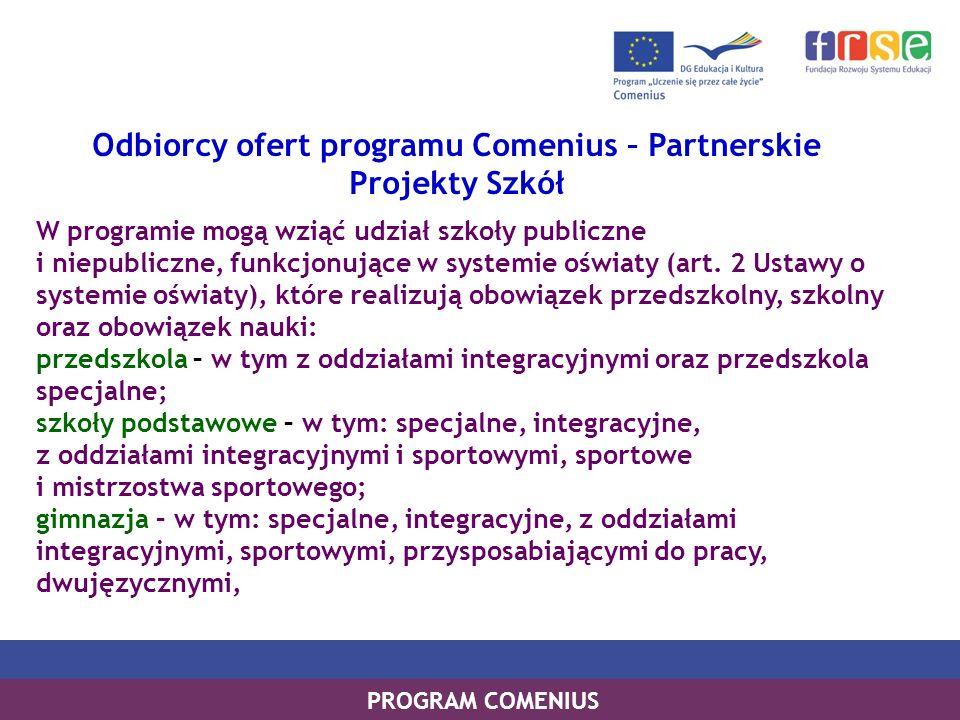 PROGRAM LEONARDO DA VINCI PROGRAM UCZENIE SIĘ PRZEZ CAŁE ŻYCIE PROGRAM COMENIUS Odbiorcy ofert programu Comenius – Partnerskie Projekty Szkół W progra
