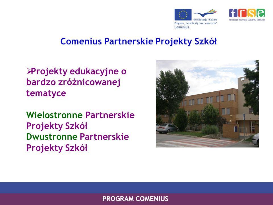 PROGRAM LEONARDO DA VINCI PROGRAM UCZENIE SIĘ PRZEZ CAŁE ŻYCIE PROGRAM COMENIUS Comenius Partnerskie Projekty Szkół Projekty edukacyjne o bardzo zróżn
