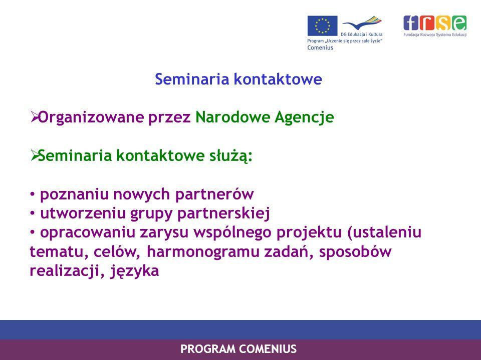 PROGRAM COMENIUS Seminaria kontaktowe Organizowane przez Narodowe Agencje Seminaria kontaktowe służą: poznaniu nowych partnerów utworzeniu grupy partn
