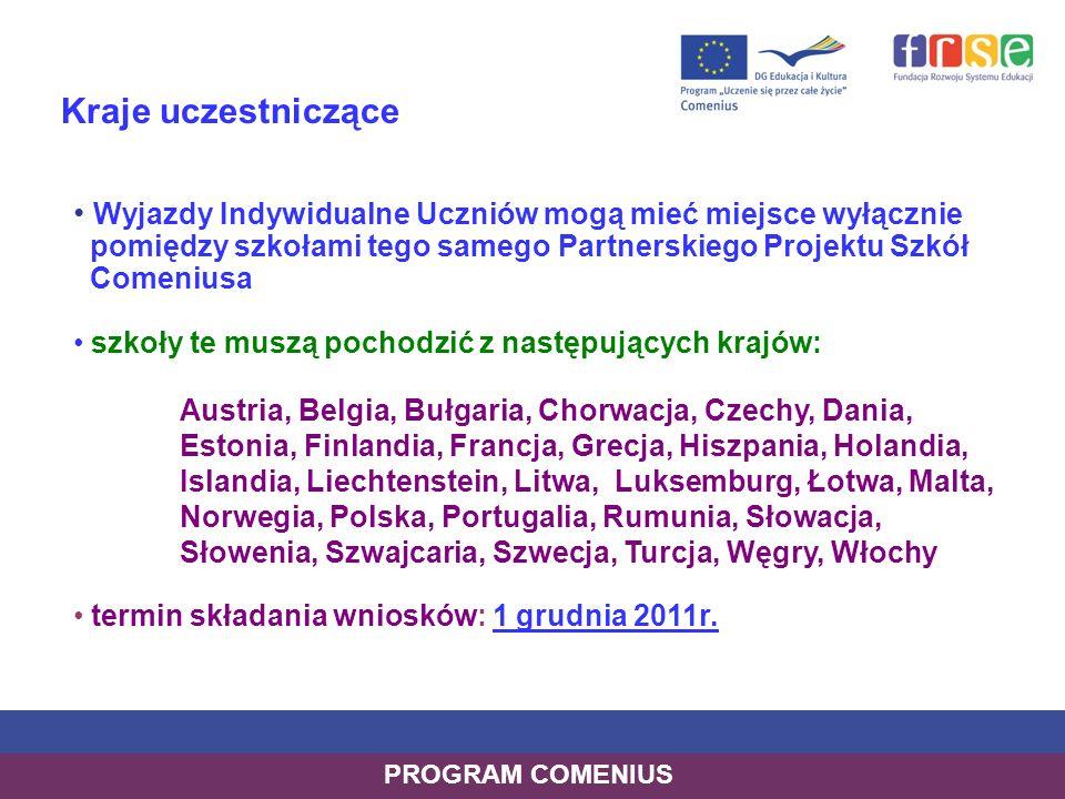 Kraje uczestniczące Wyjazdy Indywidualne Uczniów mogą mieć miejsce wyłącznie pomiędzy szkołami tego samego Partnerskiego Projektu Szkół Comeniusa szko