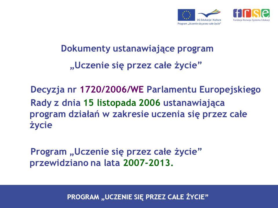 PROGRAM LEONARDO DA VINCI PROGRAM UCZENIE SIĘ PRZEZ CAŁE ŻYCIE Dokumenty ustanawiające program Uczenie się przez całe życie Decyzja nr 1720/2006/WE Pa