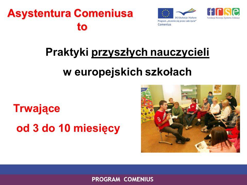 PROGRAM COMENIUS Asystentura Comeniusa to to Praktyki przyszłych nauczycieli w europejskich szkołach Trwające od 3 do 10 miesięcy