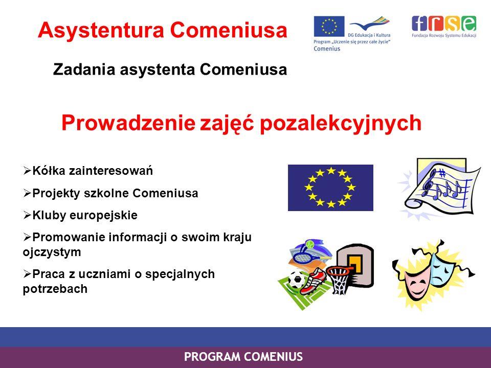 PROGRAM COMENIUS Prowadzenie zajęć pozalekcyjnych Asystentura Comeniusa Zadania asystenta Comeniusa Kółka zainteresowań Projekty szkolne Comeniusa Klu