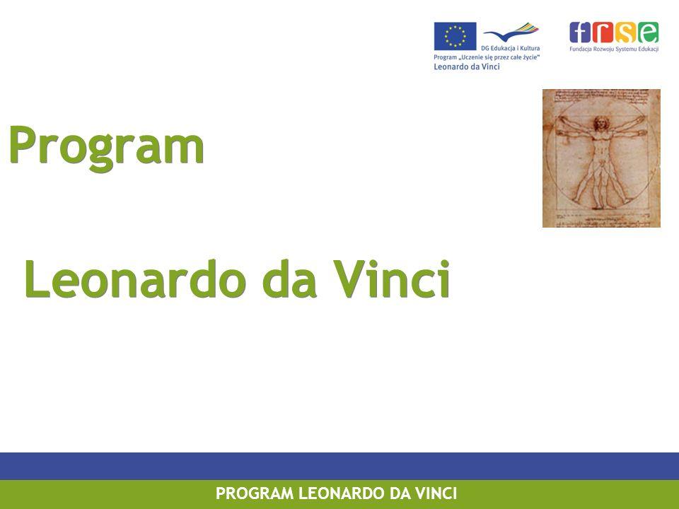 PROGRAM LEONARDO DA VINCI PROGRAM UCZENIE SIĘ PRZEZ CAŁE ŻYCIE PROGRAM LEONARDO DA VINCI Program Leonardo da Vinci Program Leonardo da Vinci