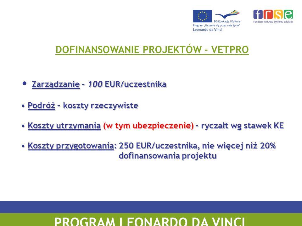 PROGRAM UCZENIE SIĘ PRZEZ CAŁE ŻYCIE DOFINANSOWANIE PROJEKTÓW - VETPRO Zarządzanie – 100 EUR/uczestnika Podróż – koszty rzeczywiste Podróż – koszty rz