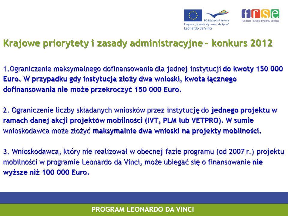 PROGRAM LEONARDO DA VINCI PROGRAM UCZENIE SIĘ PRZEZ CAŁE ŻYCIE PROGRAM LEONARDO DA VINCI Krajowe priorytety i zasady administracyjne – konkurs 2012 1.
