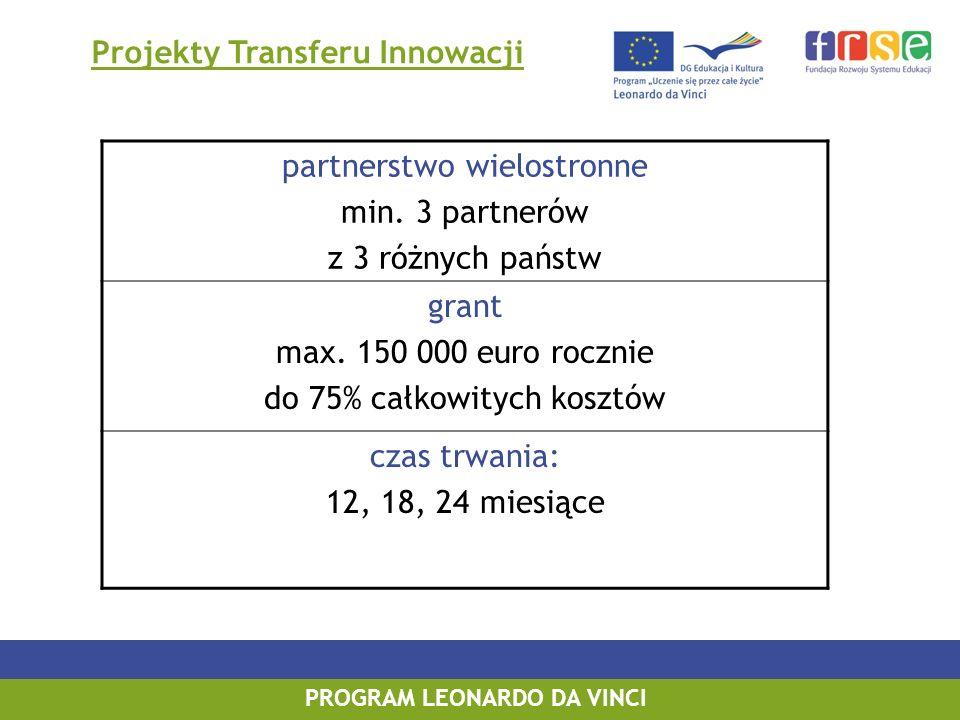 PROGRAM LEONARDO DA VINCI Projekty Transferu Innowacji partnerstwo wielostronne min. 3 partnerów z 3 różnych państw grant max. 150 000 euro rocznie do