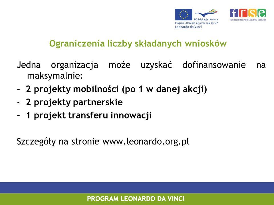 PROGRAM LEONARDO DA VINCI PROGRAM UCZENIE SIĘ PRZEZ CAŁE ŻYCIE Jedna organizacja może uzyskać dofinansowanie na maksymalnie: - 2 projekty mobilności (