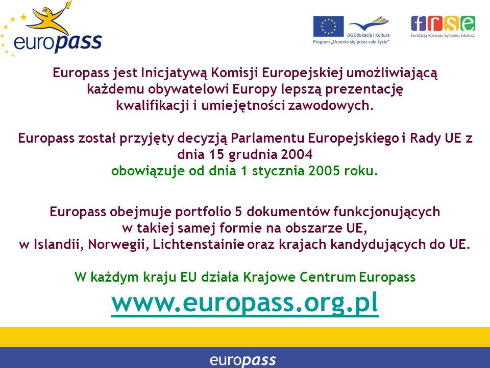 PROGRAM LEONARDO DA VINCI PROGRAM UCZENIE SIĘ PRZEZ CAŁE ŻYCIE Europass jest Inicjatywą Komisji Europejskiej umożliwiającą każdemu obywatelowi Europy