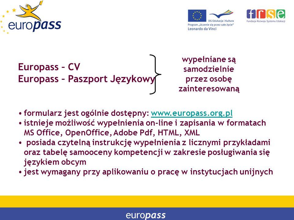 PROGRAM LEONARDO DA VINCI PROGRAM UCZENIE SIĘ PRZEZ CAŁE ŻYCIE Europass – CV Europass – Paszport Językowy formularz jest ogólnie dostępny: www.europas