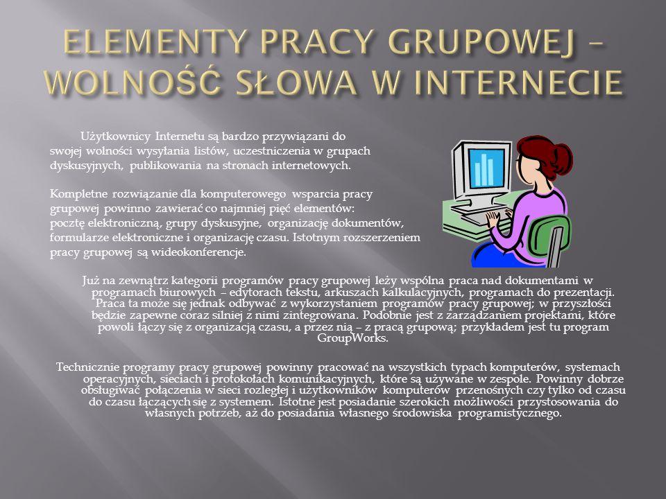 Użytkownicy Internetu są bardzo przywiązani do swojej wolności wysyłania listów, uczestniczenia w grupach dyskusyjnych, publikowania na stronach inter