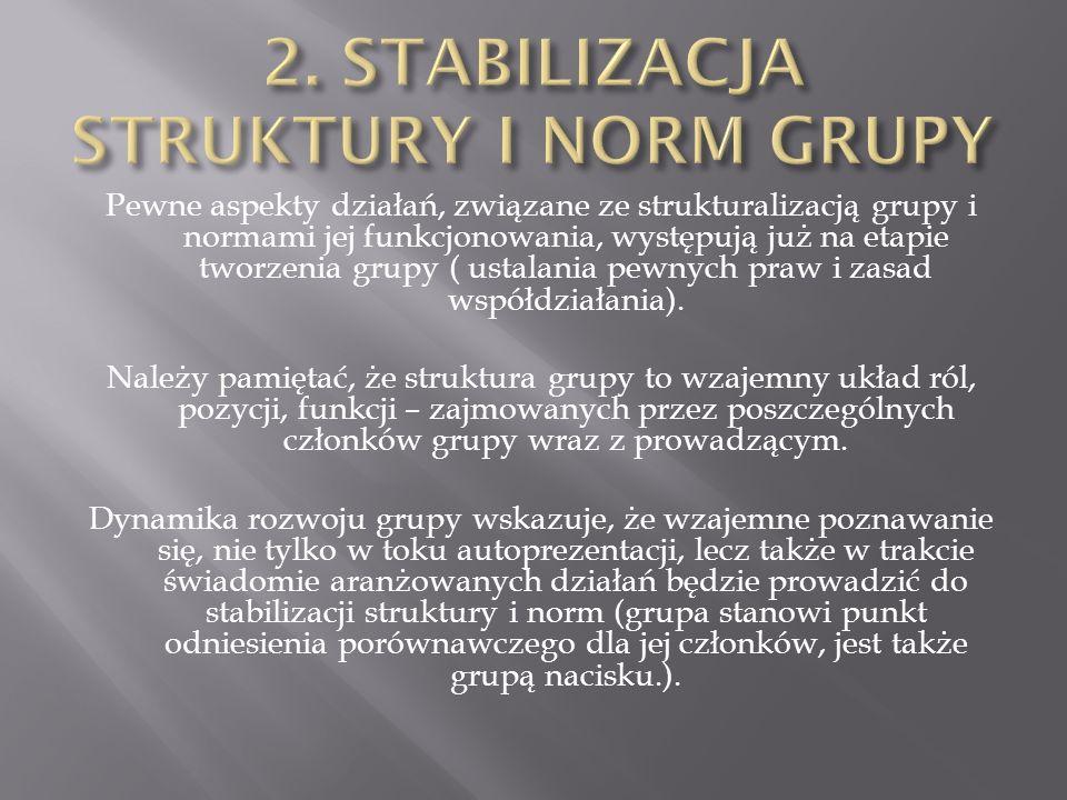 Pewne aspekty działań, związane ze strukturalizacją grupy i normami jej funkcjonowania, występują już na etapie tworzenia grupy ( ustalania pewnych pr