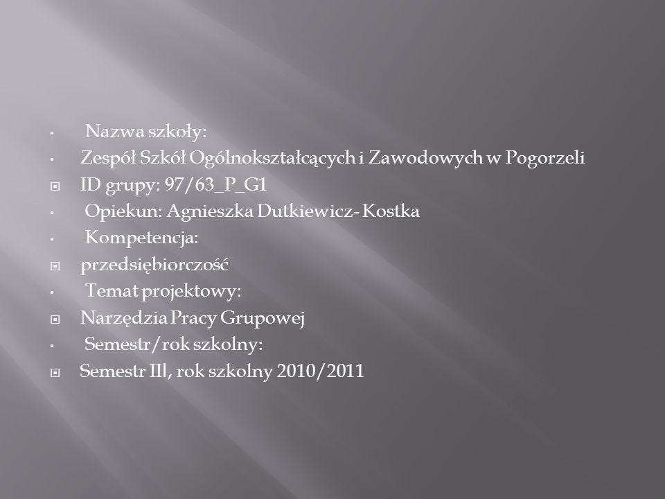 Nazwa szkoły: Zespół Szkół Ogólnokształcących i Zawodowych w Pogorzeli ID grupy: 97/63_P_G1 Opiekun: Agnieszka Dutkiewicz- Kostka Kompetencja: przedsi