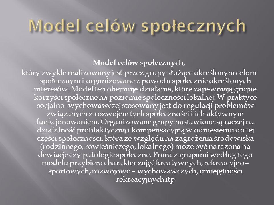 Model celów społecznych, który zwykle realizowany jest przez grupy służące określonym celom społecznym i organizowane z powodu społecznie określonych
