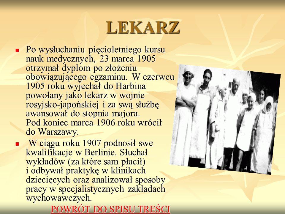 LEKARZ Po wysłuchaniu pięcioletniego kursu nauk medycznych, 23 marca 1905 otrzymał dyplom po złożeniu obowiązującego egzaminu.