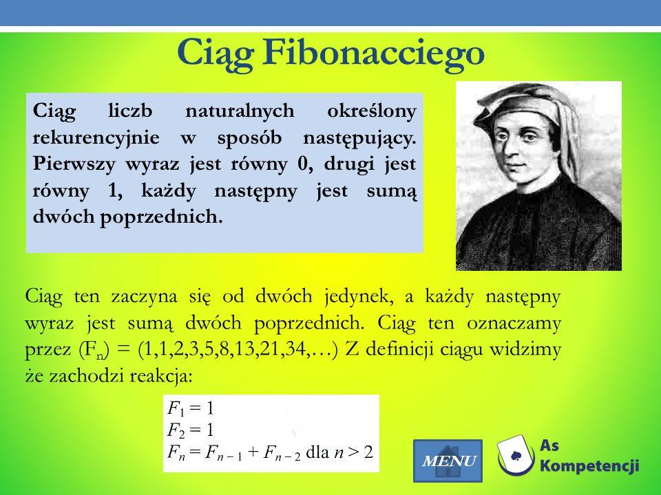 Ciąg Fibonacciego Ciąg liczb naturalnych określony rekurencyjnie w sposób następujący. Pierwszy wyraz jest równy 0, drugi jest równy 1, każdy następny